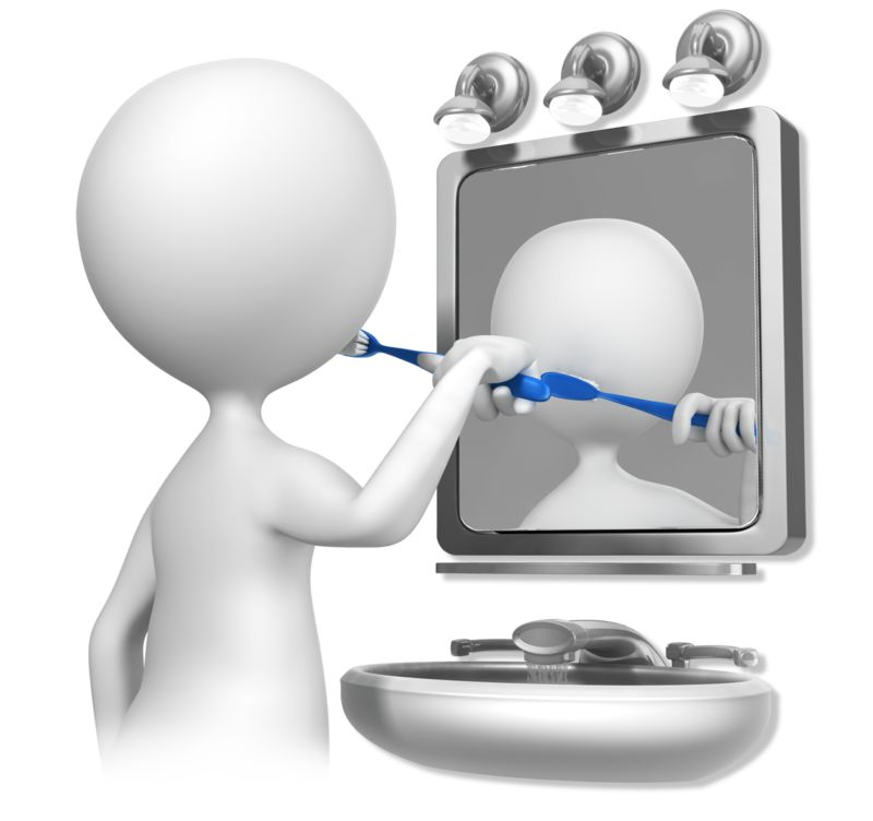Clipart - Stick Figure Brushing Teeth