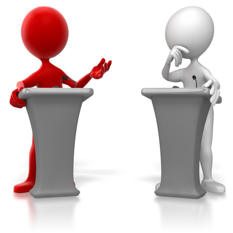 Clipart - Stick Figure Colored Podium Debate