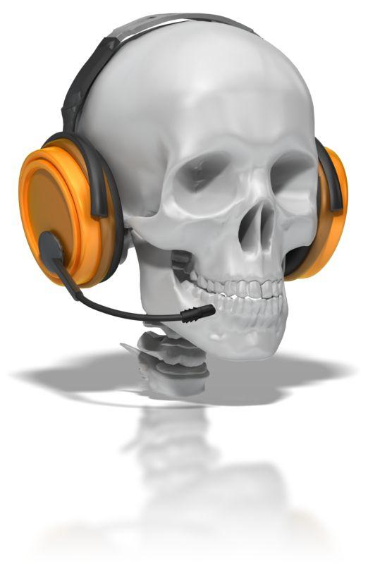 Clipart - Skull Wearing Headset
