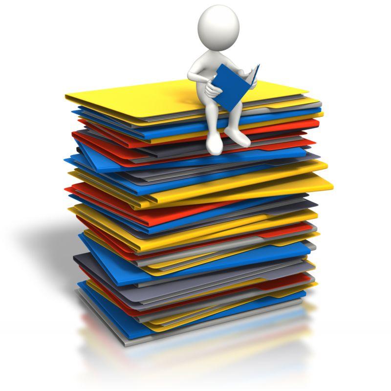 Clipart - Stick Figure Browsing Open Folder