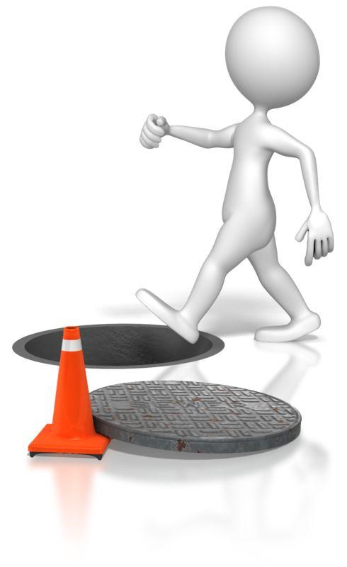 Clipart - Stick Figure Walking Into Manhole