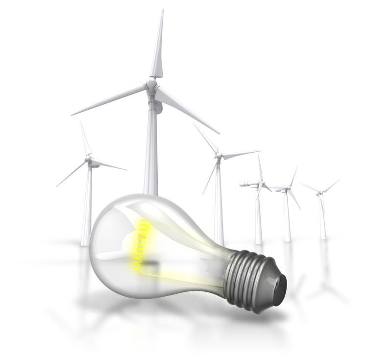 Clipart - Energy Light Bulb Wind Turbine