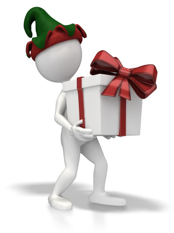 Clipart - Christmas Elf Present