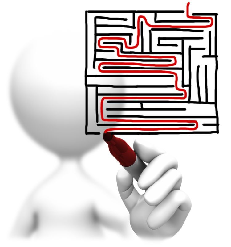 Clipart - Solving A Maze Drawing