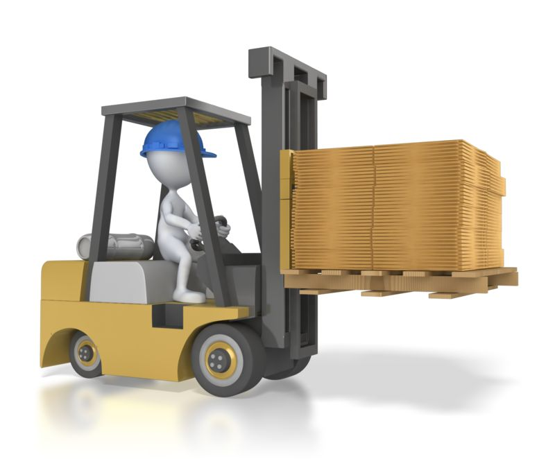 Clipart - Forklift Carry Flatten Boxes
