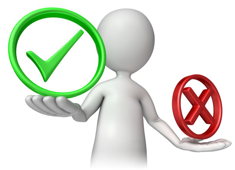 Clipart - Stick Figure Holding Check Or Cancel