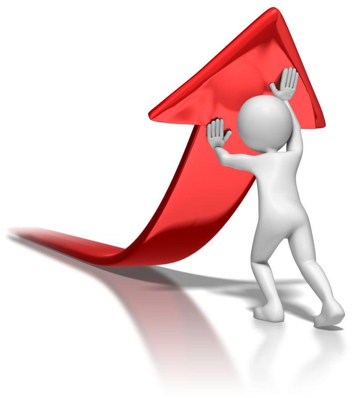 Clipart - Stick Figure Pushing Arrow Upwards