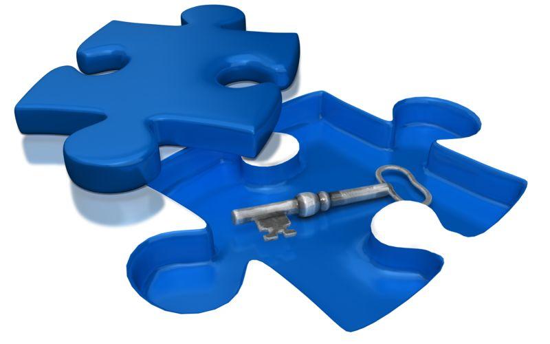 Clipart - Key Under Puzzle Piece