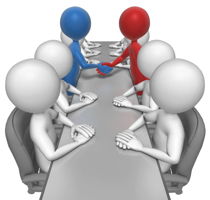 Clipart - Stick Figures Agreement Meeting