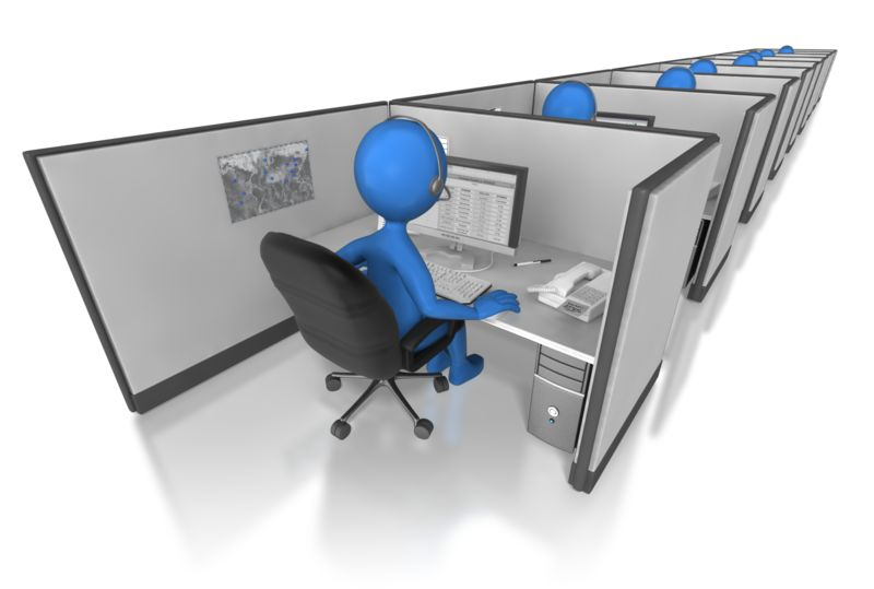 Clipart - Call Center Cubicle Line