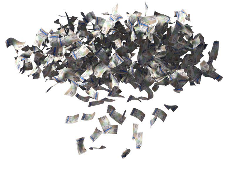 Clipart - Money Cloud Raining Canadian Dollars