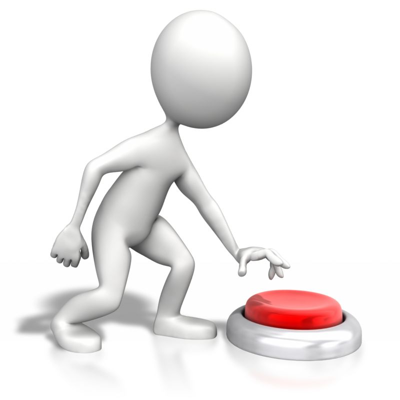 Clipart - Stick Figure Pushing Large Button