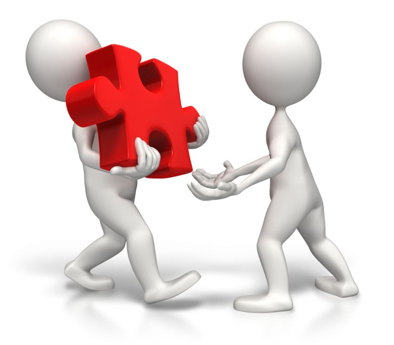 Clipart - Sharing The Load Of The Puzzle