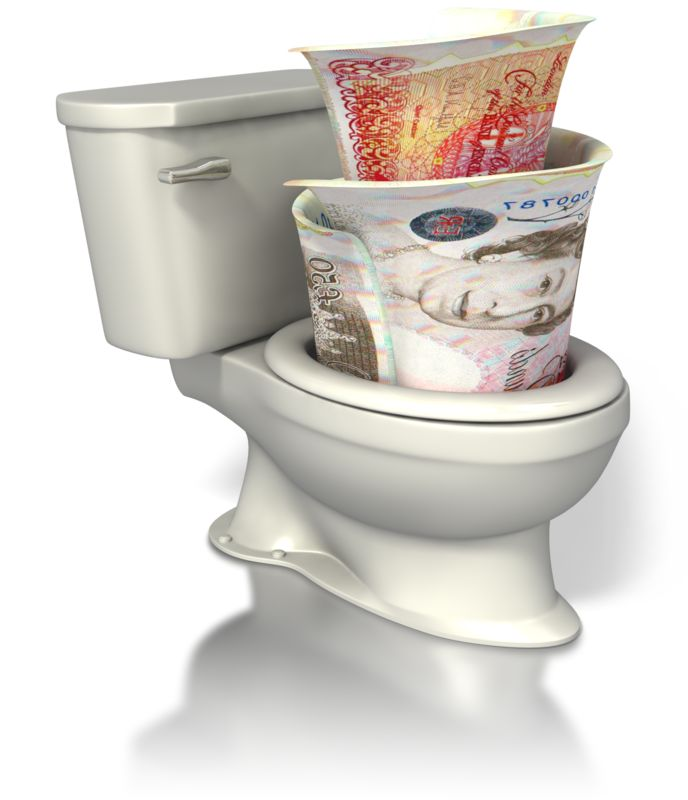 Clipart - British Currency Toilet