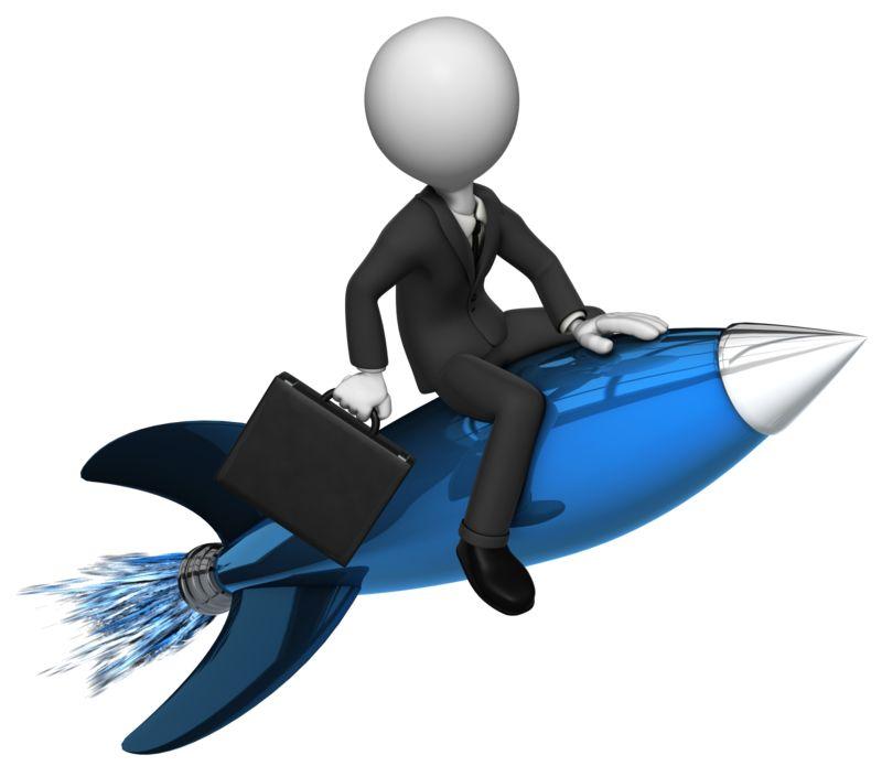 Clipart - Businessman Rides Rocket