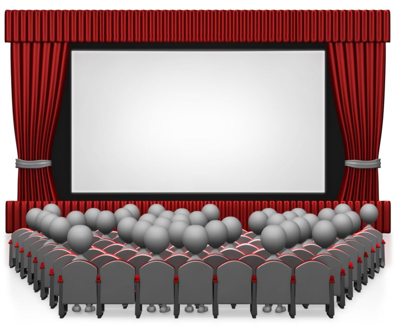 Clipart - Movie Theater With People