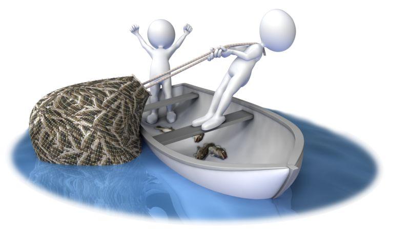 Clipart - Hauling In A Full Net