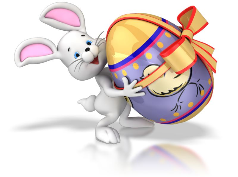 Clipart - Bunny Carrying Easter Egg