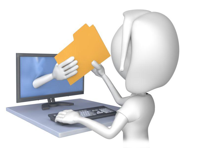 Clipart - Woman Computer File Transfer