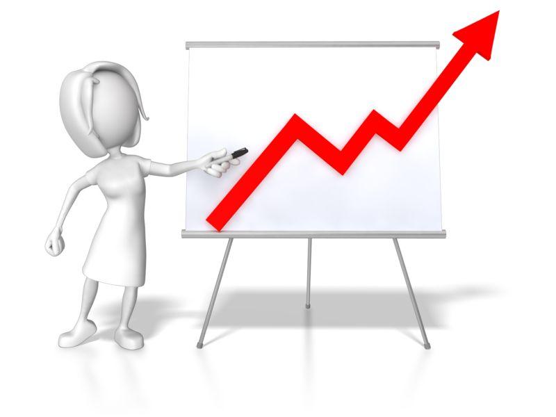 Clipart - Woman Presenting Graph Increase