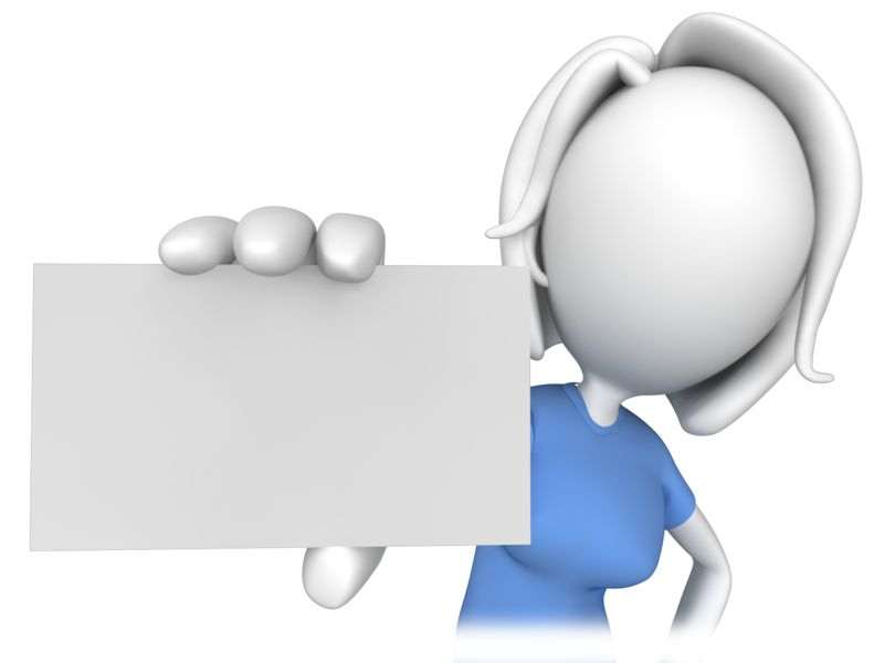 Clipart - Woman Holding a Business Card