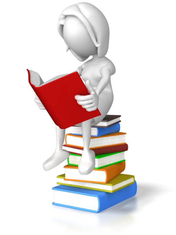Clipart - Woman Sitting On Books