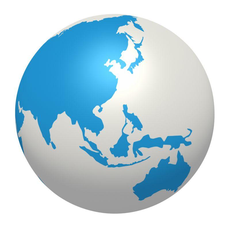 Clipart - Blue White Earth Asia Pacific Region