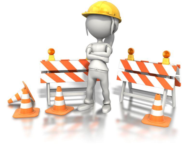 Clipart - Woman Standing Construction Site