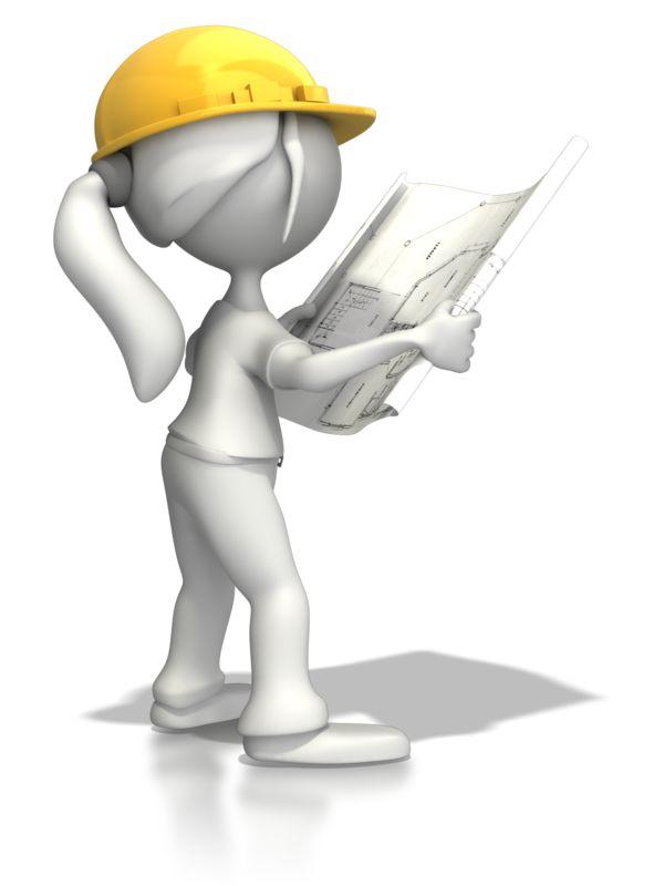 Clipart - Woman Reading Blueprints