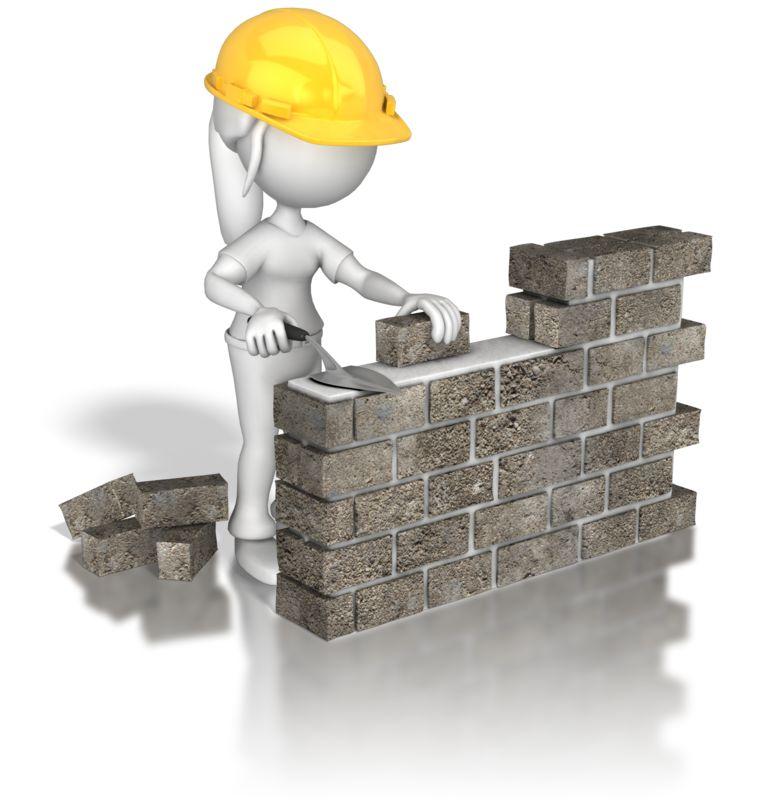 Clipart - Woman Brick Wall Construction