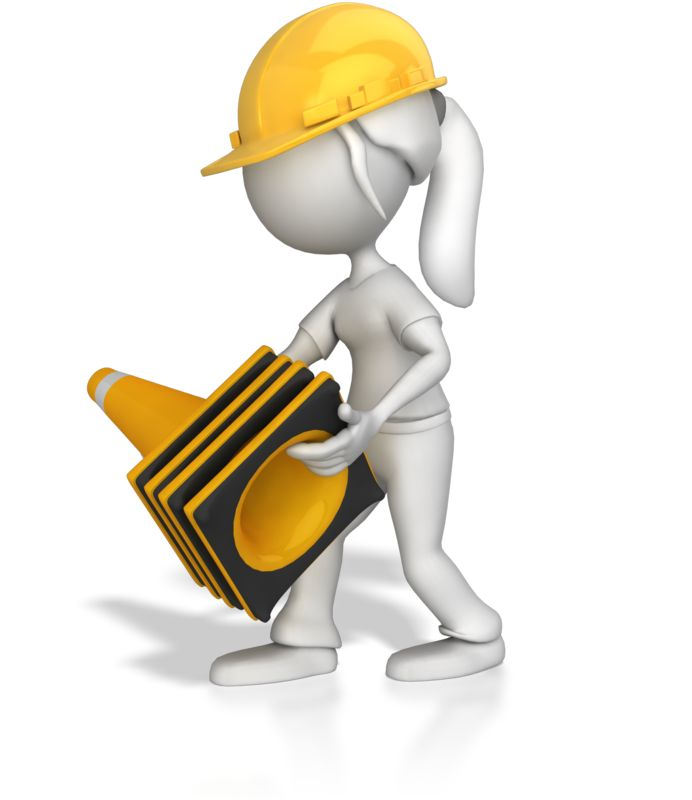 Clipart - Woman Picking Up Construction Cones