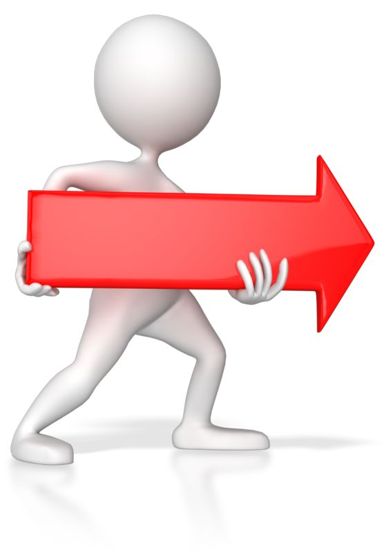 Clipart - Stick Figure Pointing Red Arrow Right