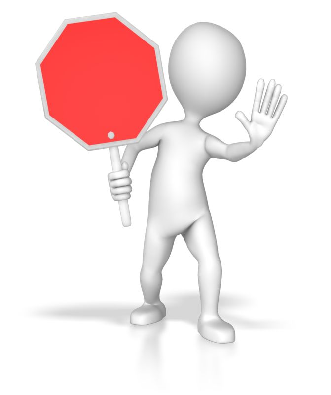 Clipart - Stick Figure Holding Stop Sign