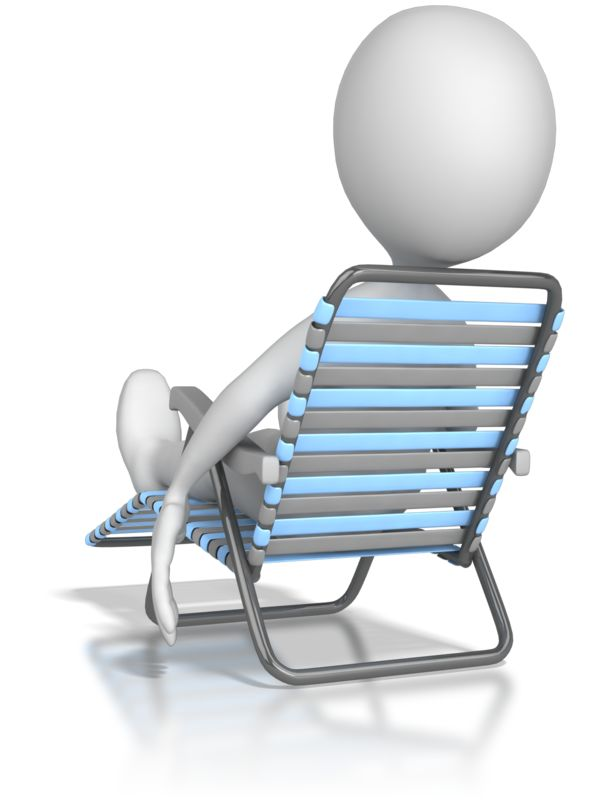Clipart - Stick Figure Lounging In a Lawn Chair