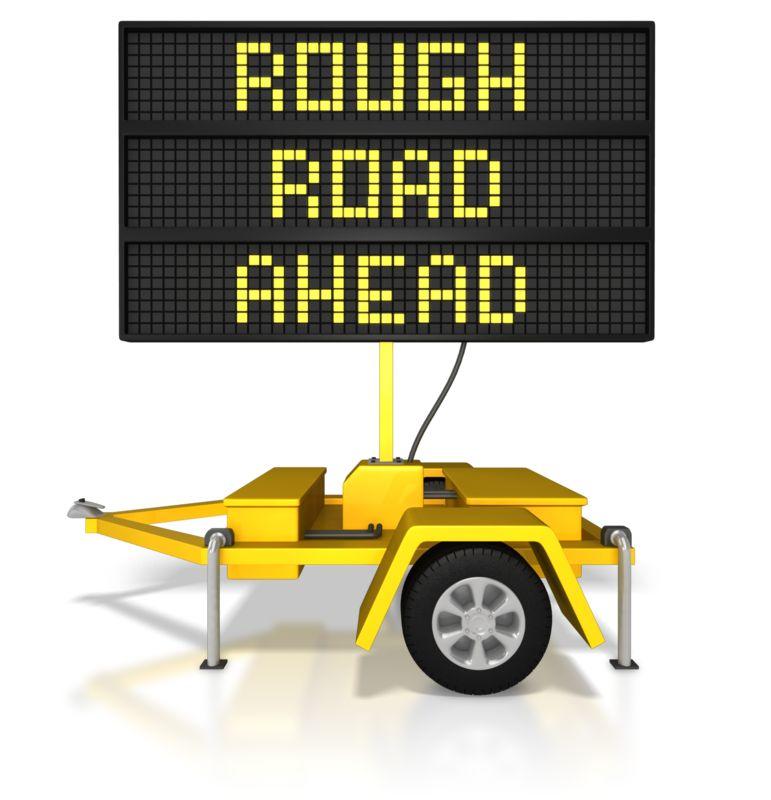 Clipart - Digital Road Sign Rough Road Ahead