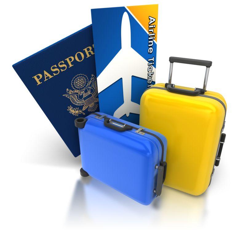 Clipart - Luggage Passport Ticket