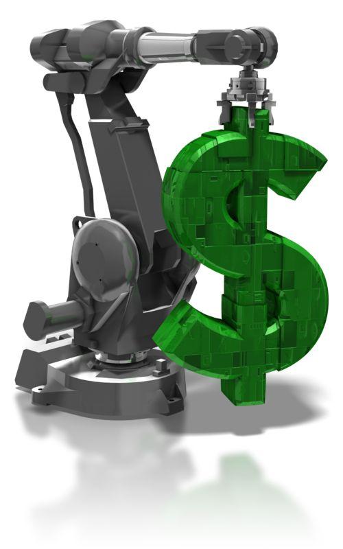 Clipart - Robot Arm Holding Dollar Symbol