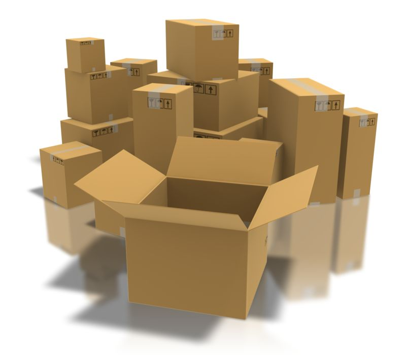 Clipart - Open Box With Boxes