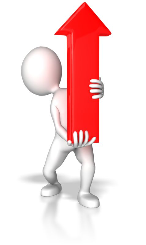 Clipart - Stick Figure Pointing Red Arrow Up