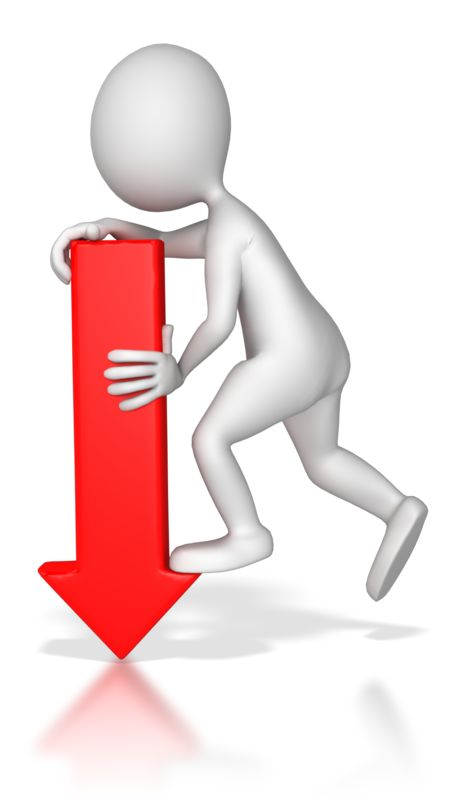 Clipart - Stick Figure Pointing Red Arrow Down