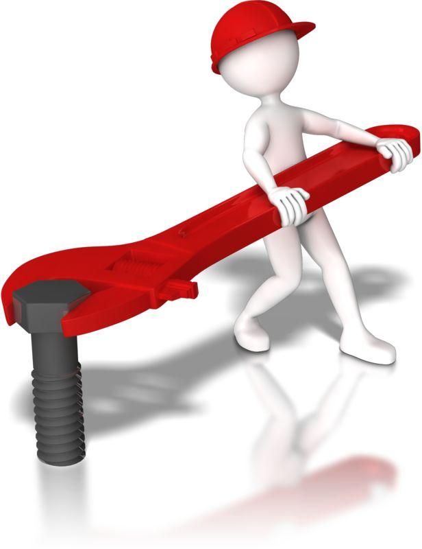 Clipart - Stick Figure Hardhat Tighten Bolt