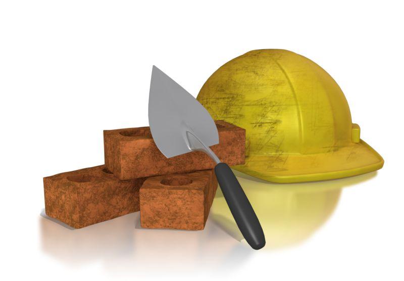 Clipart - Brick Trowel Hard Hat