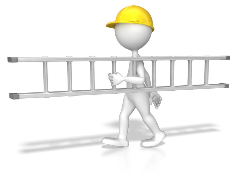 Clipart - Stick Figure Carrying A Ladder
