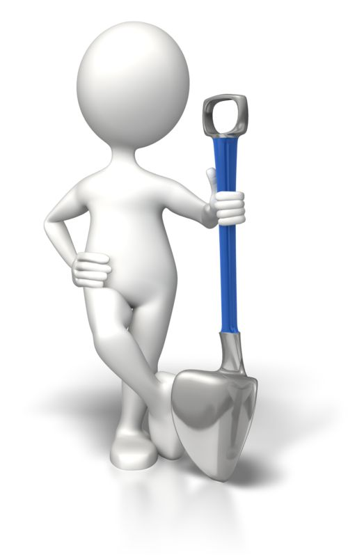 Clipart - Stick Figure Relaxed With Shovel
