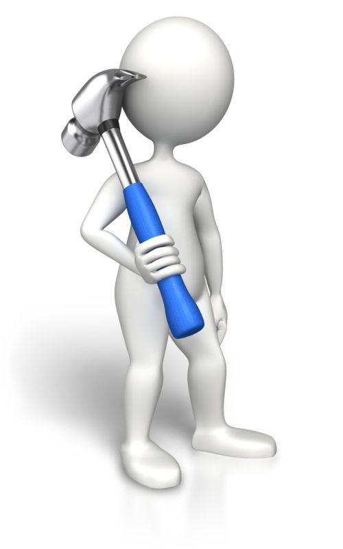 Clipart - Stick Figure Hammmer On Shoulder