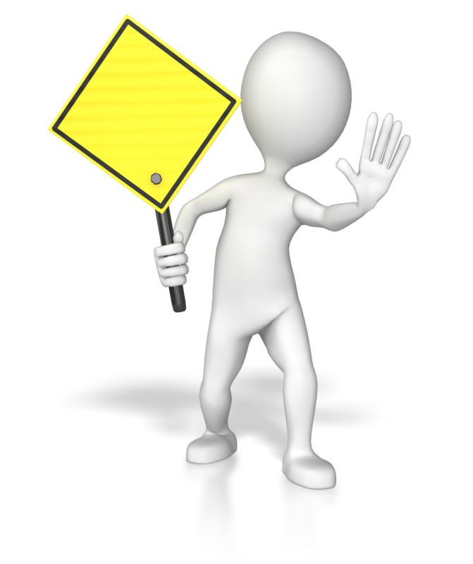 Clipart - Stick Figure Holding A Yellow Sign