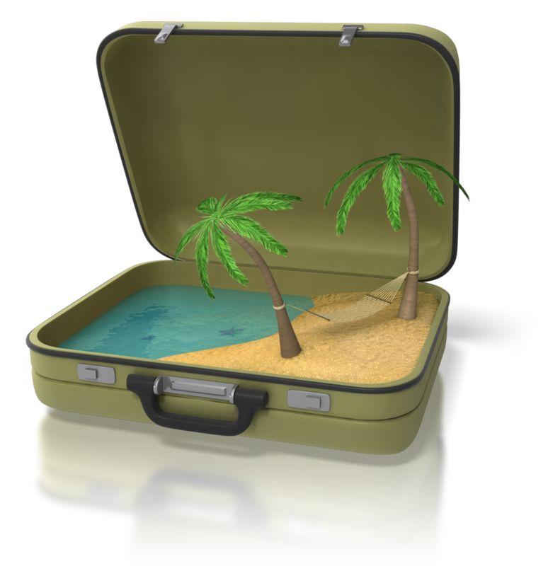 Clipart - Beach Island In Suitcase