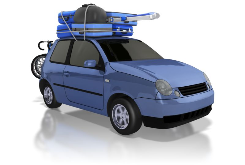 Clipart - Car Carrying Luggage on Road Trip