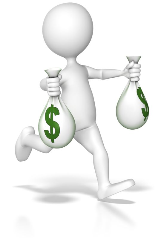 Clipart - Running With Money Bags