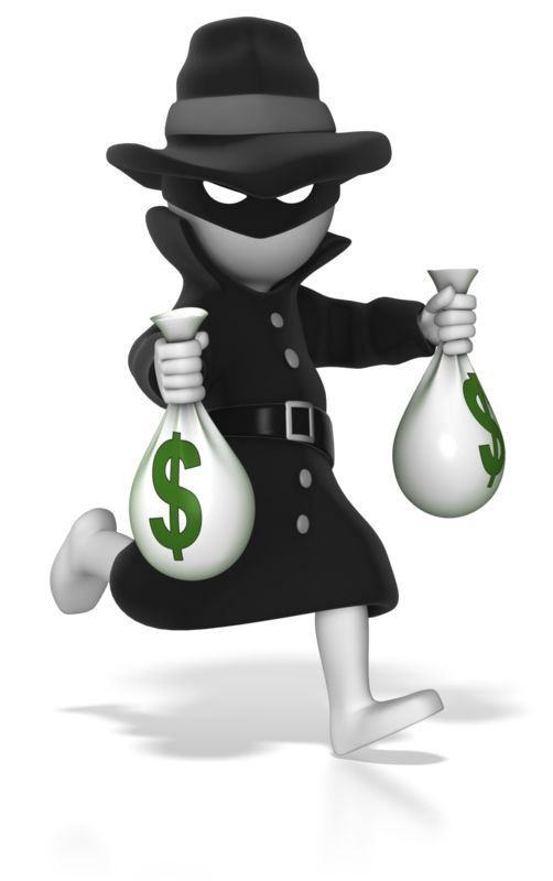 Clipart - Thief Running With Money Bags